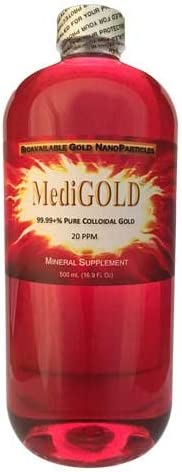 500 mL of MediGOLD is true Colloidal Gold No Chemicals In BPA Free Clear Plastic Bottle product image
