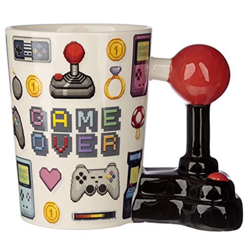 Retro Game Over Mug with Joystick Handle