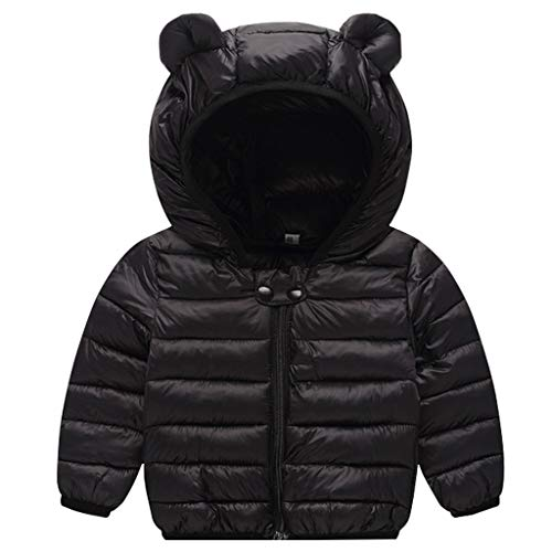 Baby Jacke Winter Mantel Kapuzenjacke Ultraleicht Mäntel mit Kapuze Schwarz 6-12 Monate