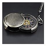 yuyan Reloj de Bolsillo para Hombres con Cadena, Reloj de Bolsillo mecánico Retro con Tapa giratoria, Adecuado para Aniversario/Regalo del Padre