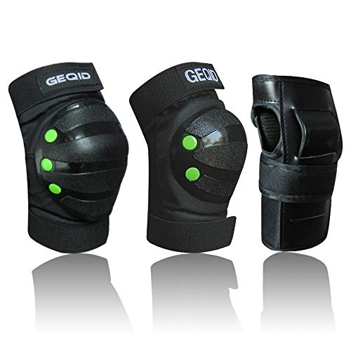 GEQID adult/Youth Kids Knee Pads Elbow Pads Wrist Guards 3 in 1 Protective Gear Set for Skating skateboard Inline skates rollerblade Bicycle men or women