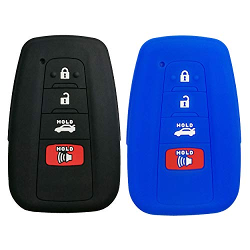 Coolbestda 2Pcs Silicone Smart Key Fob Skin Cover Protector Keyless Jacket Remote Holder for 2018 Toyota Camry C-HR Prius HYQ14FBC 4buttons Smart Key Black Blue