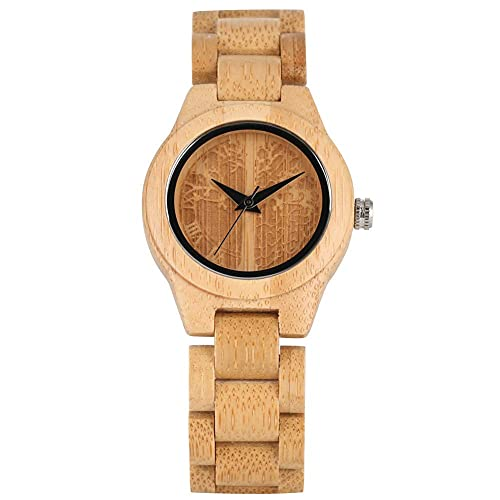 HYLX Reloj de Madera de bambú Natural para Mujeres, Reloj de Madera con Esfera de árbol de Vida único para Damas, Reloj de Pulsera de Madera con Correa Duradera para niñas