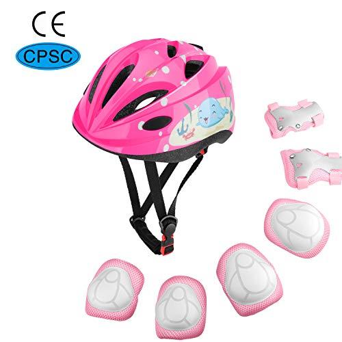 MoKo Schoner Set für Kinder, Verstellbar Helm Knieschoner Ellbogenschoner Handgelenkschoner für Skateboarden Inline Roller Eislaufen Radsport Radfahren BMX Fahrrad Roller für Jungen Mädchen - Rosa