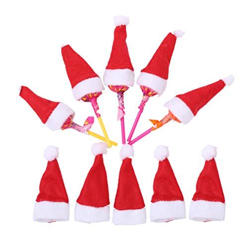 BESTOYARD 10 Stücke Lollipop-Hut Lollipop-Mütze Lutscher Hüte Mini Weihnachtsmütze Weihnachtshut Süßigkeiten Hut Weihnachtsdekoration