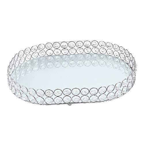 Fenteer Espejo Decorativo Bandeja de Plata, Cristal cosmético Bandeja Oval Organizador de...