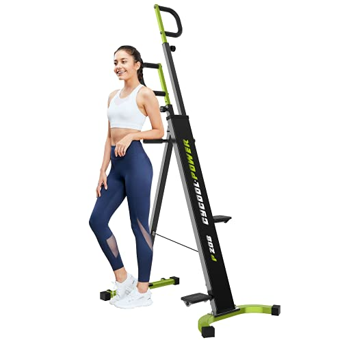 cycool Vertical Climber Foldable Climbing Machine for Home Gym with LCD Monitor,Cardio Workout Machine Stair Steppe,Aerobic Exercise for Full Body Workout,220LBS Weight Capacity