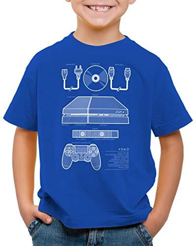 style3 PS4 Gamer T-Shirt für Kinder Konsole pro vr, Farbe:Blau, Größe:164