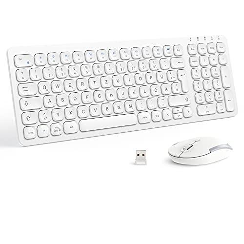 iClever GK15 Tastatur Maus Set Kabellos, 2.4G Funkmaus und Tastatur, Kugelförmigen Tastenkappe, Ultraslim Wiederaufladbare Tastatur, QWERTZ Deutsches Layout für PC/Laptop/Computer/Smart TV, Weiß