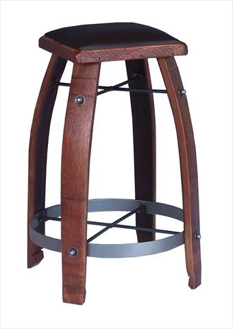 2 Day Designs 818C30 30 inch Wine Barrel Stave Stool with Chocolate Leather Seat