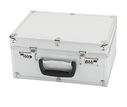 IQE-Storage Transportkoffer TB-M2, Schaumstoffpolsterung, Zahlenschloss, LxBxH: 34 x 25 x 16 cm, Silber, Transportbox, Koffer, Kiste