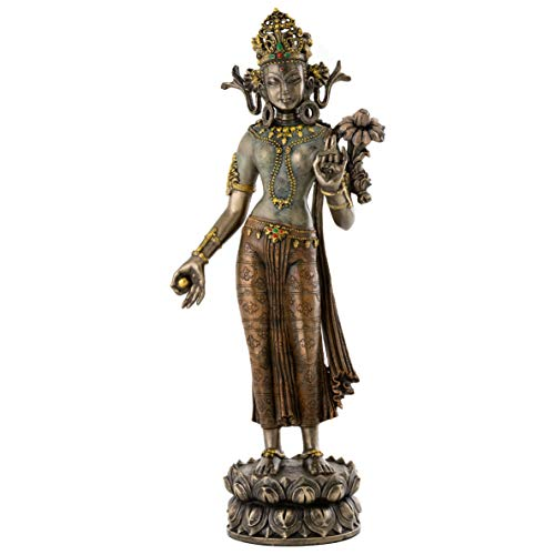 Top Collection Green Tara Statue with Lotus of Wisdom - Female Buddha Goddess of Universal Compassion Sculpture in Premium Cold Cast Bronze - 12.25-Inch Collectible Mother of All Buddhas Figurine