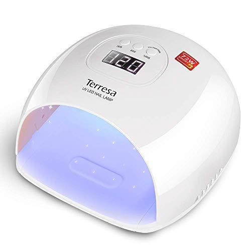 UV LED Lampe für Gelnägel, Terresa 72 Watt Nageltrockner für Gel Nagellack, Professionelle Nagellampe in Salonqualität, mit 3 Timern, Auto-Sensor, Nagelwerkzeuge für Fingernagel und Zehennagel