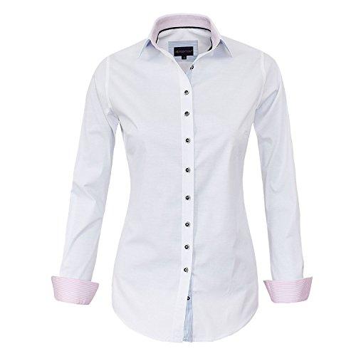 HEVENTON Bluse Damen Langarm in Weiß von Hemdbluse - Größe 34 bis 50 - elegant und hochwertig Farbe Weiß, Größe 50
