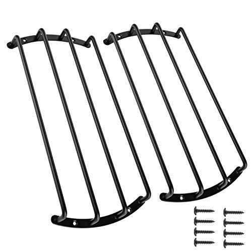 2pcs Black Color Metal Car Bar Grille Audio Speaker Subwoofer Grill Grille Cover Protector (10 Inch 4 Bars)