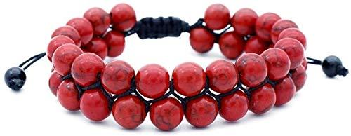 KEEBON Pulsera de Piedra Mujer, 7 Chakra 8mm Natural Double Carnelian Beads de Piedra Trenzada Ajustable Brazaly Jewelry Pray Yoga Energy Reiki Charm Diffuser Regalo para Pareja