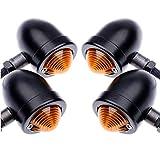 TUINCYN Luces intermitentes para motocicletas Bombilla luz de aluminio anodizado Indicador del motor Luz intermitente (4 piezas)