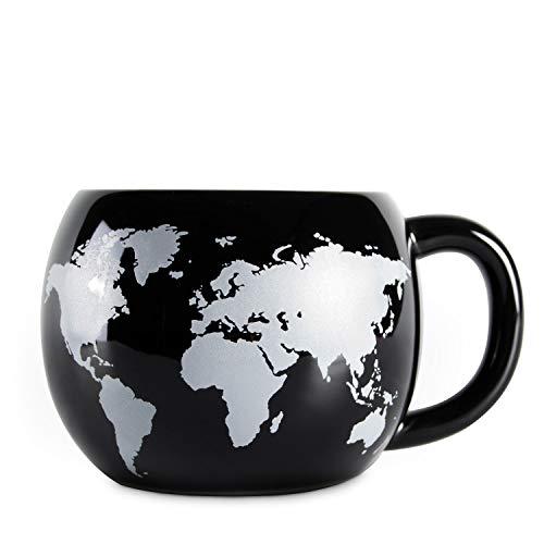 el & groove 3D Globus Tasse in schwarz, Teetasse 300 ml (350 ml randvoll), Kaffee-Tasse aus Porzellan, Weltkarten Tasse, Atlas Reiseziele, Deko Becher, Geschenk Weihnacht, Geschenk für Weltenbummbler