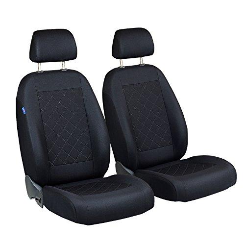 Qashqai Vorne Sitzbezüge - für Fahrer und Beifahrer - Farbe Premium Schwarz gepresstes Karomuster