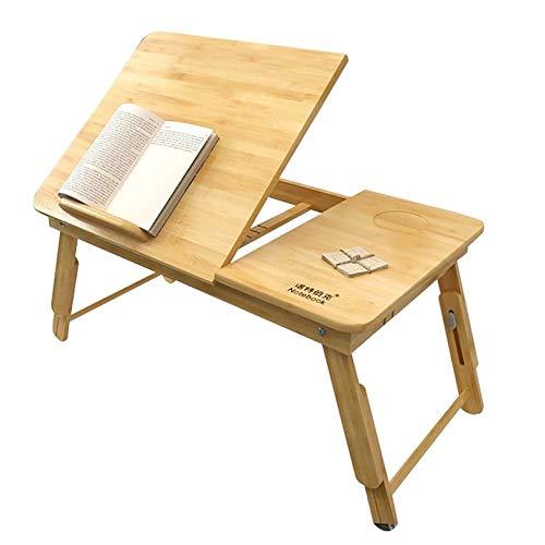 Bambú Escritorio De Cama Portátil,Bandeja De Mesa Con Plegable Tirar Hacia Abajo Piernas Cajón De Almacenamiento,Portátil Mesa Para Ordenador Portatil-Natural 55x35x22-30cm