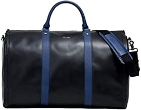 Project 11 Garment Weekender Black Leather with Blue accents by Hook & Albert