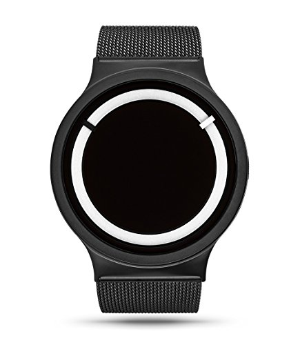 ZIIIRO Eclipse Metallic Black Snow Unisex Armbanduhr Analog Quarz minimalistisch schwarz weiße Uhr