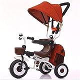 XRQ Passeggino Triciclo Pieghevole per Bambini 1-3-5 Anni Bicicletta per Triciclo con Ombrello Ciclomotore Ciclomotore,Arancia