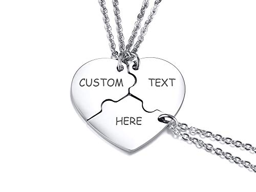 VNOX 2/3/4/5 Pcs Customize Personalised Friendship/Love Family Puzzle Couple Pendant Necklaces/Keychains/Bracelets for Lover Friend BFF,Stainless Steel Jewellery,Free Engraving