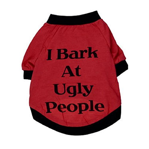 Howstar Pet Shirt, Cute Puppy Dog Clothing Summer Cool Vest for Pet Sweatshirt I Bark at Ugly People (XS, Black)