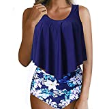 Vectry Damen Tankini Set Mädchen Bademode Für Mollige Push Up Bandeau Bikini Set Badeanzüge Swimwear(Marine,EU-42/CN-XL)