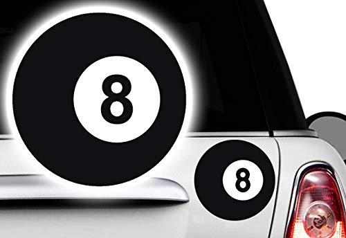 HR-WERBEDESIGN 3X Billard Kugel, 5x5cm Ball Pool Lucky 8 Billardkugel Aufkleber Eightball V8