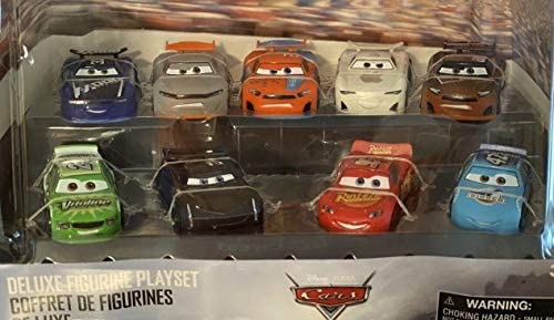 1 55 Scale Cars Deluxe 9 Pack Lightning McQueen Jackson Storm Cal Weathers Brick Yardley Ryan product image