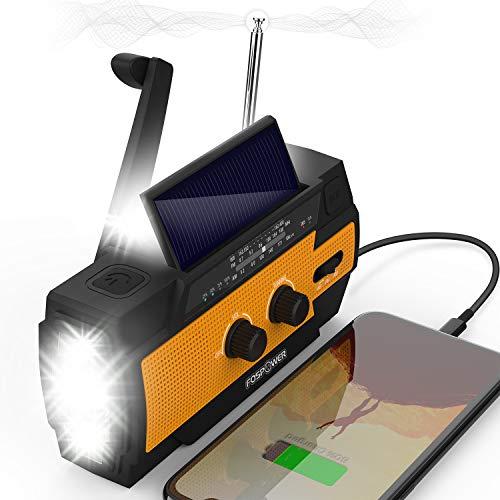 FosPower 4000mAh NOAA Emergency Weather Radio (Model A3) Portable Power Bank, Solar Charging, Hand Crank & Battery Operated, SOS Alarm, Motion Sensor Setting, AM/FM & Flashlight for Outdoor Emergency