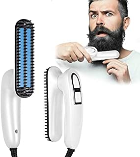 POKARI™ Folding Electric Beard Straightener Comb,Professional Straightening Comb,Portable Heated Straightening Brush with Anti Scale Feature,Heated Hair Straightener For Men & Women