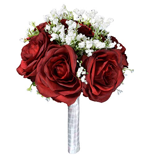 Lacomfy 7 Stems Artificial Rose Hydrangea Mixed Bouquet Silk Flower for Wedding Bridal Bouquet Home Office Decor (Red)