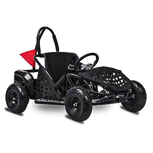 FIT Right 2020 Baja-X 48 Volt 1000 Watt Brushless Electric Go Kart, 3 Speeds Setting Up to 20 mph with Forward and Reverse. Racing Go Cart for Kids with Foot Pedal and Foot Break. (Black)
