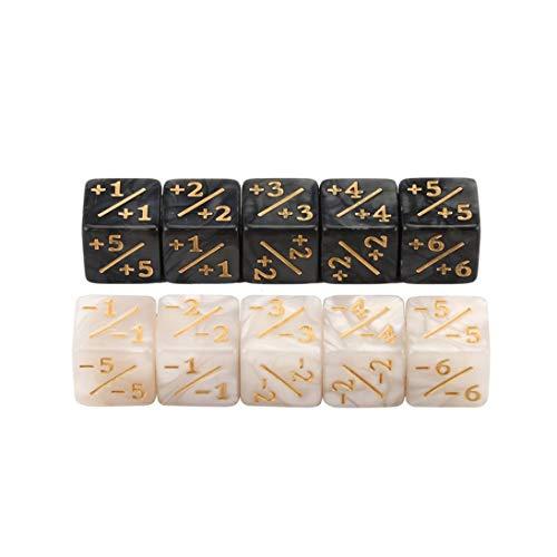 Nihlsfen 10x Würfelzähler 5 Positiv + 1 / + 1 & 5 Negativ -1 / -1 Für Magie Das Sammeltischspiel Lustige Würfel Hohe Qualität - Weiß + Schwarz