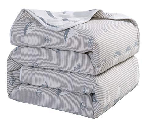 Hayisugal Kuscheldecke Baby 100% Baumwolle Sommerdecke zweiseitig Kinder Tagesdecke Schlafdecke Bettüberwurf Überwurf Decke Baumwolldecke Bunte Decke Kinder Bettdecke, Segeln, 150 x 200cm