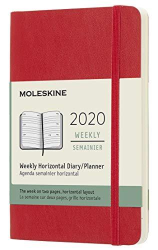 Moleskine 12 Mesi 2020 Agenda Settimanale Orizzontale, Copertina Morbida e Chiusura ad Elastico, Colore Rosso Scarlatto, Dimensione Pocket 9 x 14 cm, 144 Pagine
