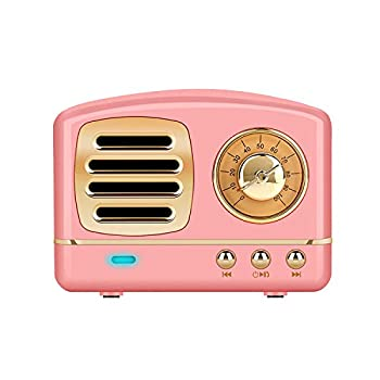 Dosmix Wireless Stereo Retro Speakers Portable Bluetooth Vintage Speakers with Powerful Sound Answering Calls Alexa Support TF Card AUX for Kitchen Bedrooms Party Outdoor Android iOS Pink