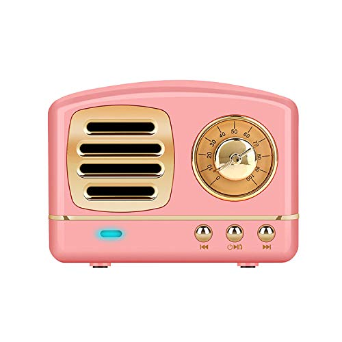 Dosmix Wireless Stereo Retro Speakers, Portable Bluetooth Vintage Speakers with Powerful Sound, Answering Calls, Alexa Support, TF Card, AUX for Kitchen Bedrooms Party Outdoor Android iOS Pink