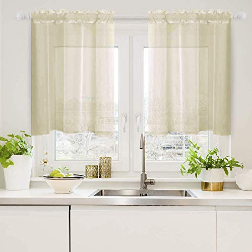 Woaboy Solid Sheer Kitchen Curtains Soft Voile Sheer Panel Sheer Curtains Light Softening Sheers Curtain for Small Window 29W x 24L Inch 2 Panels Beige