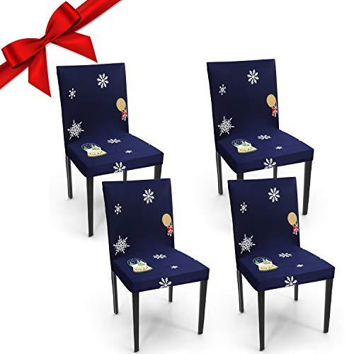 BELLE VOUS Fundas para Sillas Decoraciones de Navidad (Pack de 4) - Set Funda Sillas Comedor Azul Marino, Tela Elástica se Puede Lavar – Protectores de Sillas Navideños para Fiesta, Cocina, Jardín