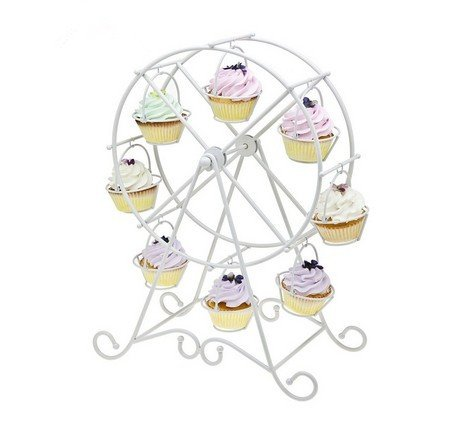 European Style Wedding Party Furnishing Accessories Dessert Serving Tray White Iron Ferris Wheel 8 Cupcakes Display Stands Cakes Holder