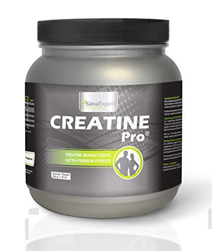 SanaExpert Creatine Pro | AUMENTA LA FUERZA Y LA RESISTENCIA | Creapure®, bebida deportiva para aumentar la masa muscular, 100% creatina, polvo de creatina sin sabor (650g).