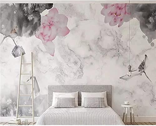 XHXI Pintura de pared Patrón de mármol Camino Lotus Estilo Sala de estar Comedor Sofá Papel 3D 3D papel Pintado de pared tapiz Decoración dormitorio Fotomural-150cm×105cm