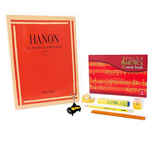 Hanon – El Planista Virtuoso 60 ejercicios – Kit de papelería – Llavero con forma de piano de regalo