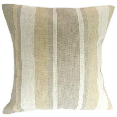 Honey Pot Cushions Funda de cojín hecha a mano de Laura Ashley con tela natural a rayas de toldo de 40 cm x 40 cm.