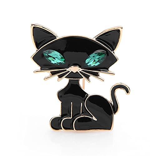 COLORFULTEA Broches De Gato De Ojo Verde Negro, Broches De Fiesta De Banquete De Animales De Gato Lindo para Hombres Y Mujeres