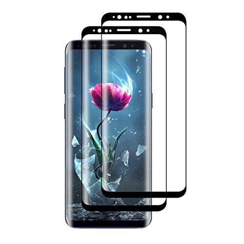 XSWO Verre Trempé Galaxy S9, Protection écran pour Samsung S9 [3D Couverture Complète] [Haute Sensibilité] [Anti-Empreintes] [Anti Rayures] [Pose Facile] [2 Pièces] Protége écran Samsung Galaxy S9